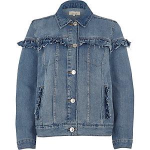 Blaue Jeansjacke mit Rüschen