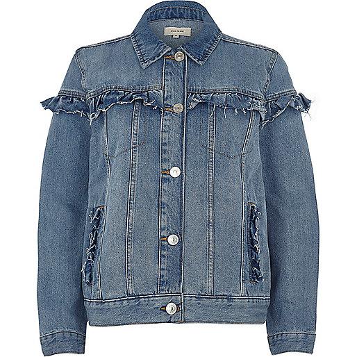 Blue wash frill denim jacket