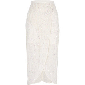 White embellished wrap skirt