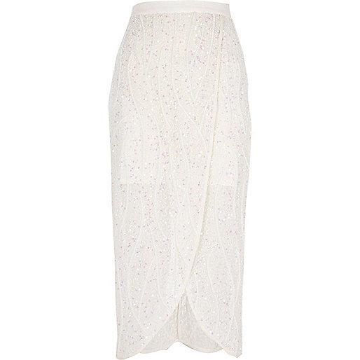 White embellished wrap skirt