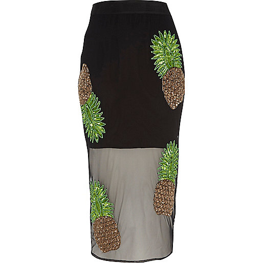 Black pineapple embellished pencil skirt