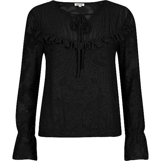 Black lace frill bib top