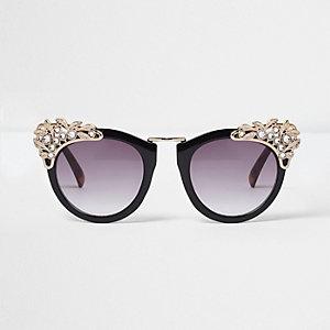 Zwarte verfraaide oversized zonnebril