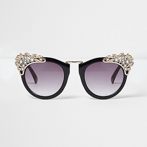 Black embellished oversized sunglasses
