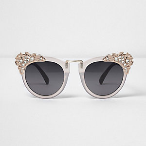 Pink embellished oversized sunglasses