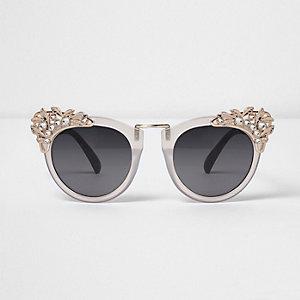 Pinke große Sonnenbrille mit Verzierung