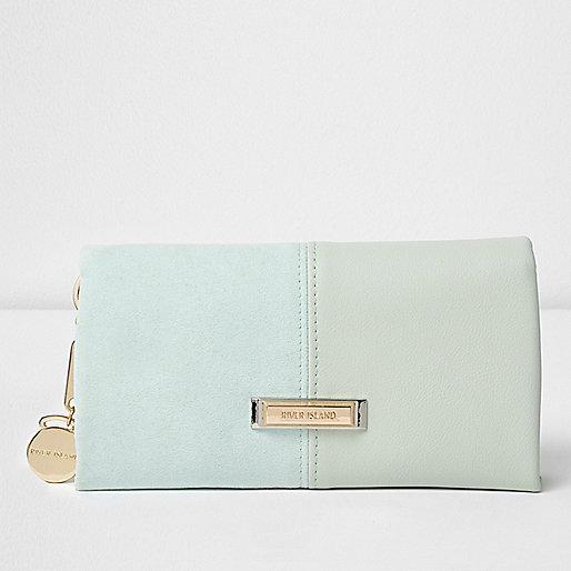 Light green panel foldover purse