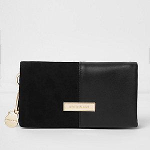 Zwarte portemonnee met flap en inzetstuk