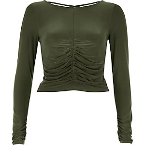 Khaki green ruched front top