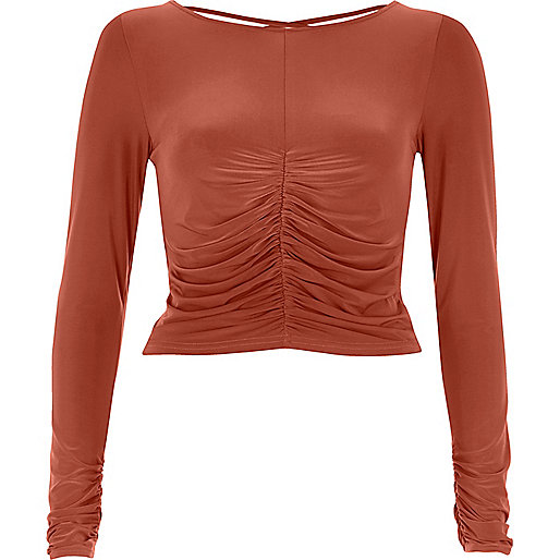 Copper ruched front fitted top