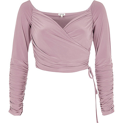 Nude ruched wrap bardot crop top