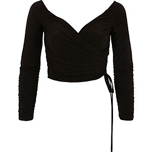 Black ruched wrap bardot crop top