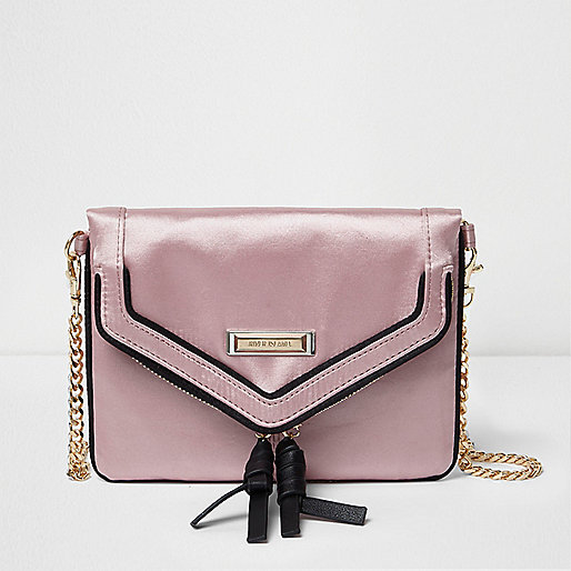 Pink satin envelope cross body chain bag
