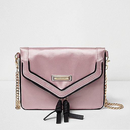 Pink satin envelope cross body chain bag