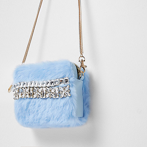 Light blue fur rhinestone mini cross body bag