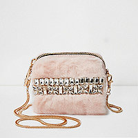 Pink fur rhinestone mini cross body chain bag