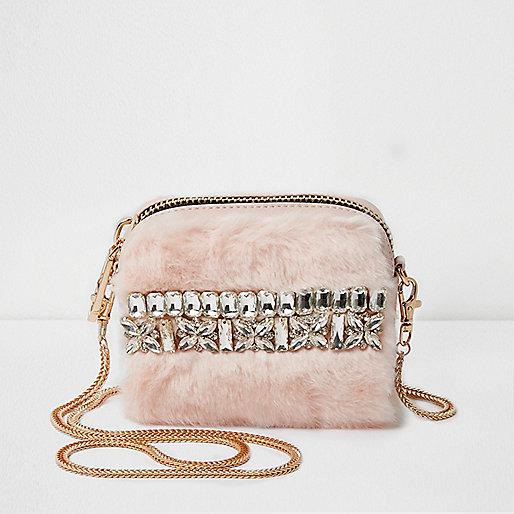 Pink fur diamante mini cross body chain bag