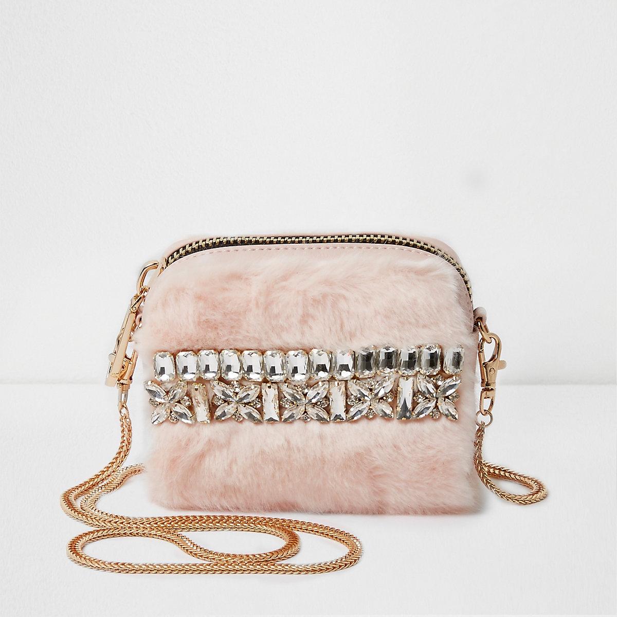 Pink faux fur mini cross body chain bag