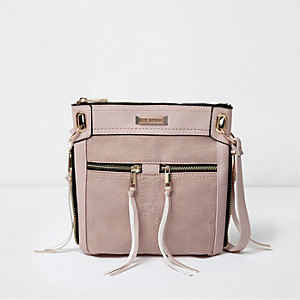 Light pink zip front mini messenger bag