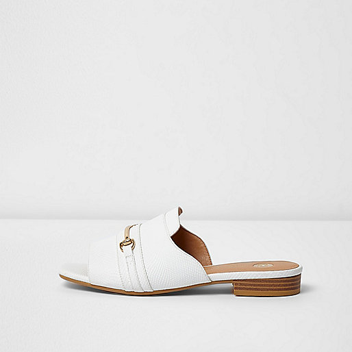 White snaffle backless peep toe loafers