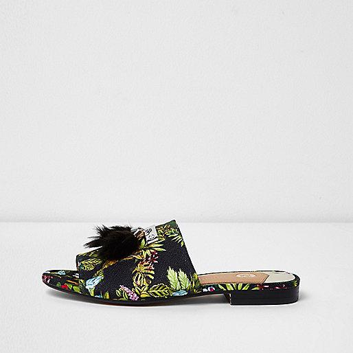 Black tropical print tassel backless loafers