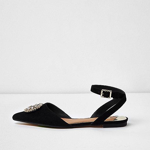 Zwarte puntige schoenen met siersteentjes
