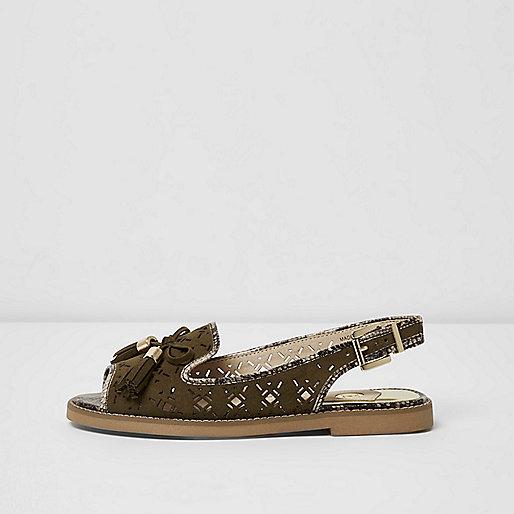 Khaki green tassel slingback loafers