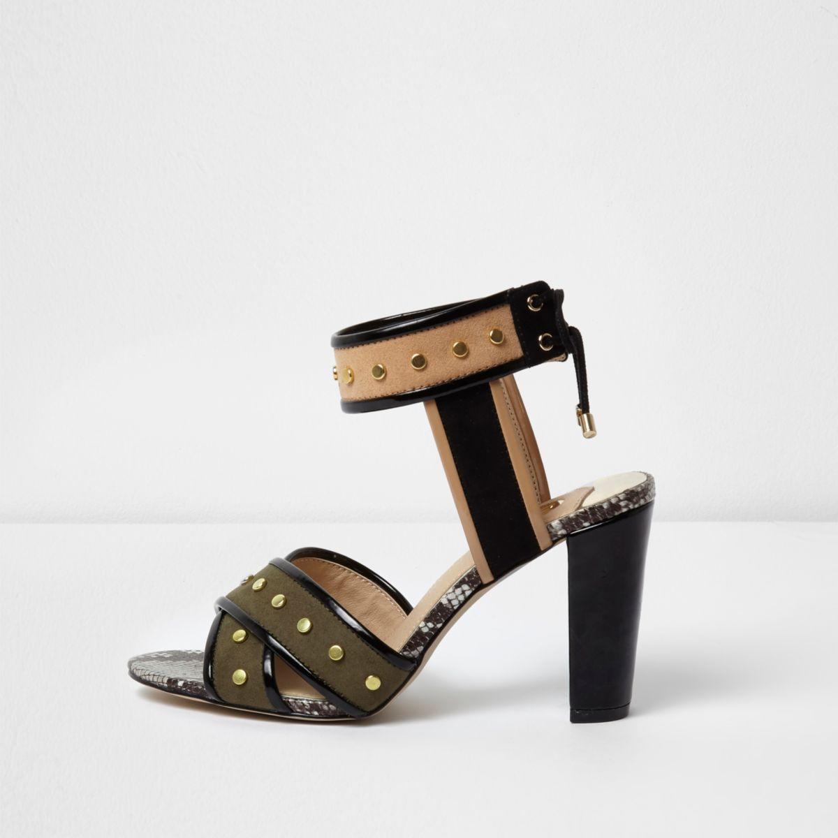 Khaki green studded block heel sandals