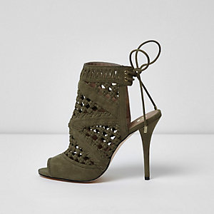 Khaki green woven tie back sandals