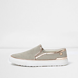 Light grey slip on plimsolls