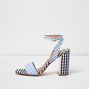 Blue gingham print block heel sandals