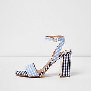 Sandales imprimé vichy bleues à talons carrés
