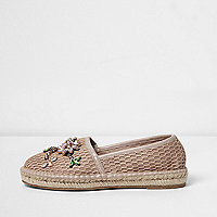 Light pink mesh embroidered espadrilles