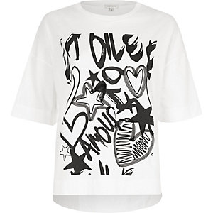 White 'amour' graffiti print T-shirt