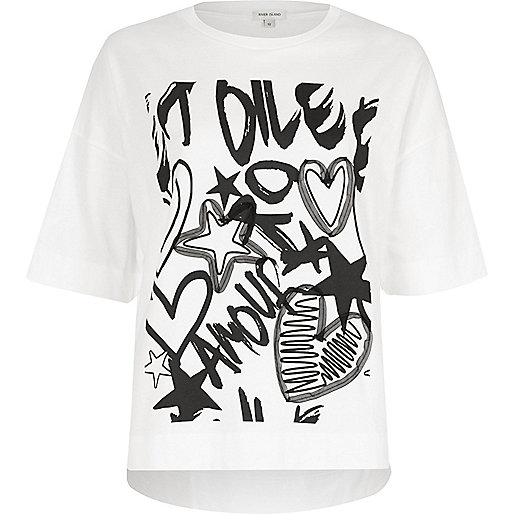 White 'amour' graffiti print T-shirt
