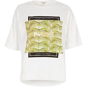 White 'paradise' foil print T-shirt