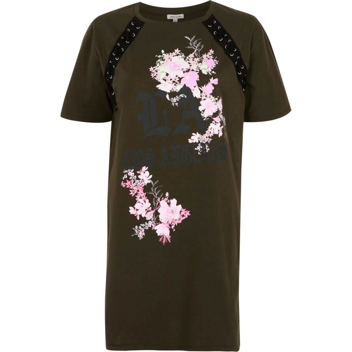 Khaki green floral lace-up oversized T-shirt