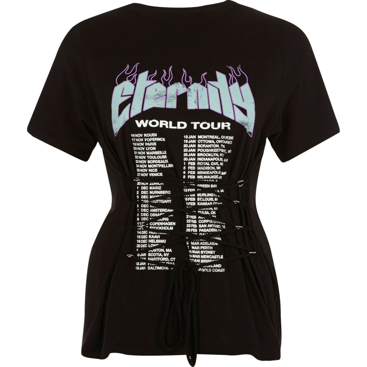 Black rock band corset T-shirt