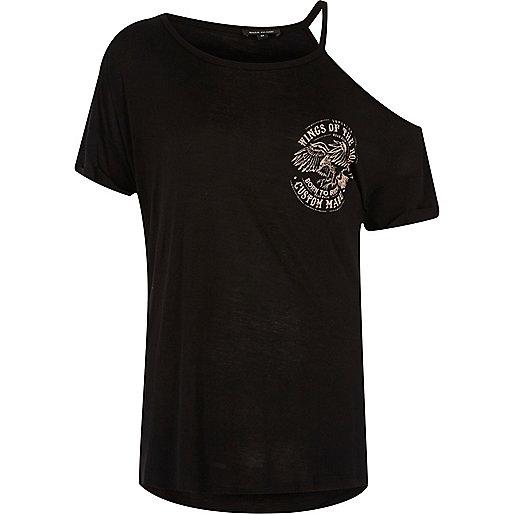 T-shirt noir à imprimé rock et épaules dénudées