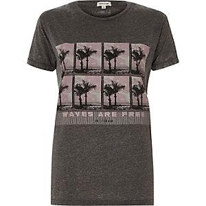 Grey palm print T-shirt