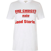White bad choices short sleeve T-shirt