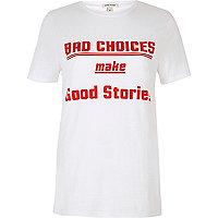 T-shirt blanc Bad Choices à manches courtes