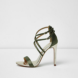Khaki green satin caged sandals