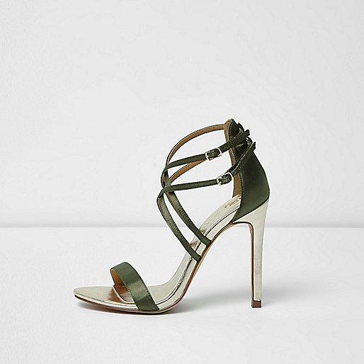 Khaki green satin caged sandals