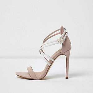 Light pink strappy caged sandals