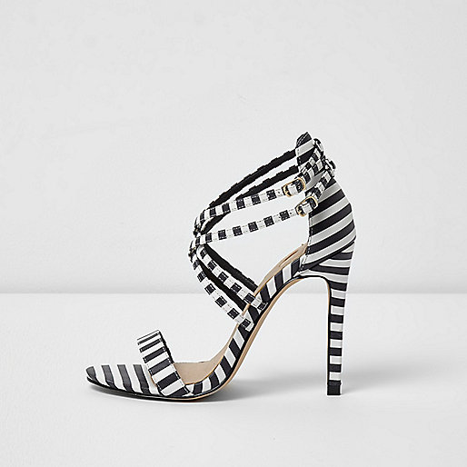 Black and white stripe print caged sandals