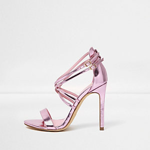 Pink metallic caged strappy sandals