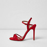 Red strappy barely there sandals