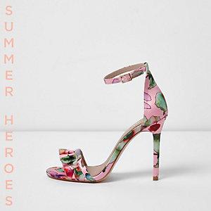 Sandales minimalistes imprimées roses avec lanières et volants