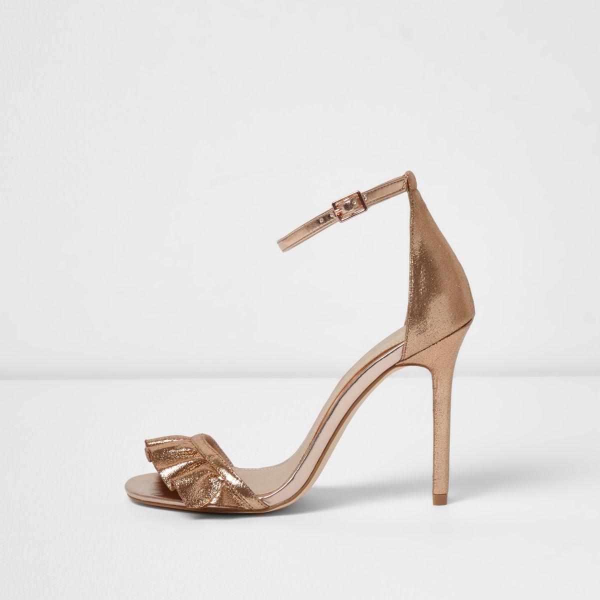 Sandales minimalistes doré rose avec lanières et volants
